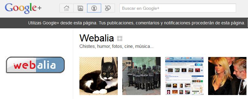 Página de webalia en google+