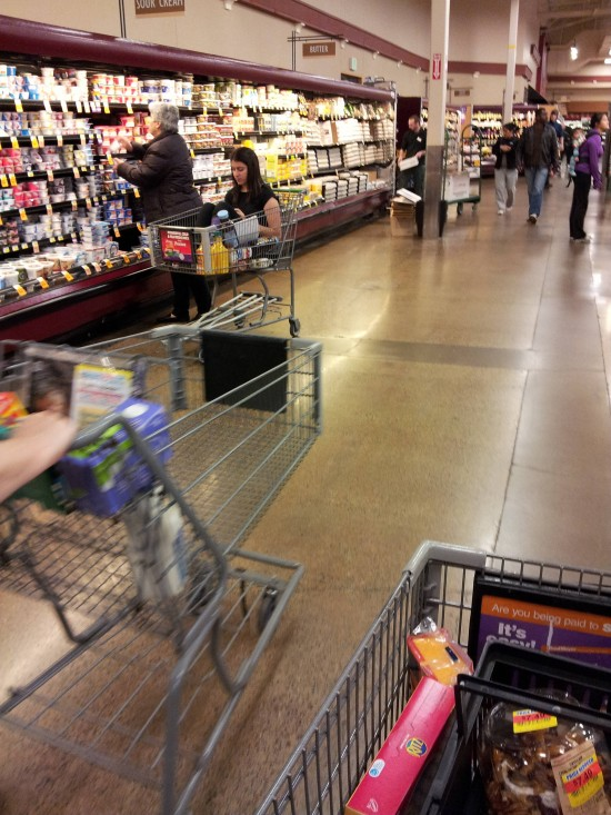 Adulta en un carrito de la compra