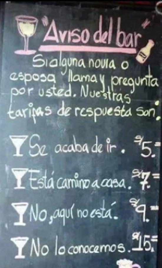 Aviso a clientes del bar