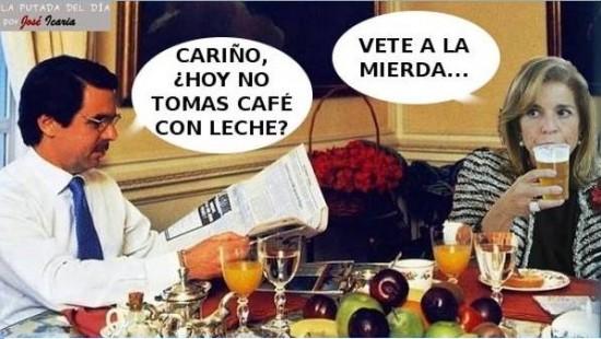 Aznar y Ana Botella desayunando