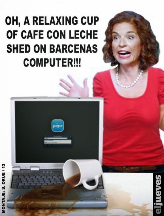 El relaxing cup of café cayendo en el ordenador de Bárcenas