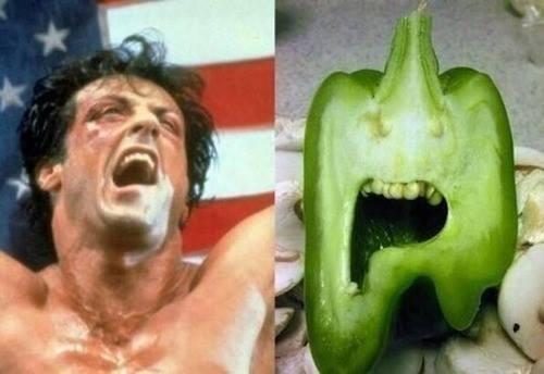 Parecidos razonables: Rocky y un pimiento verde