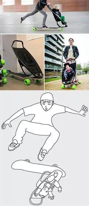 Carrito de bebé para madres skaters