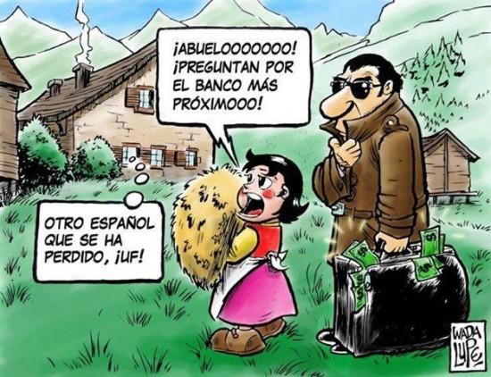 Heidi ayudando a españoles en Suiza