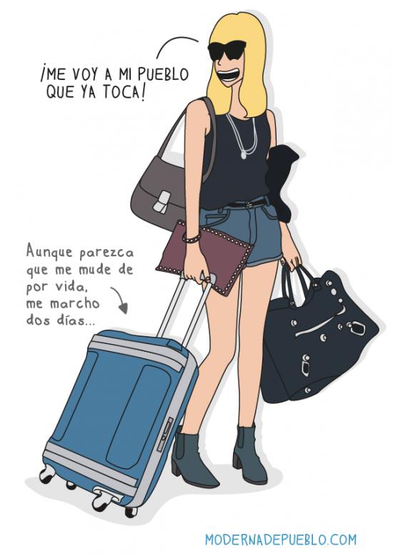 Modernas de pueblo volviendo a casa