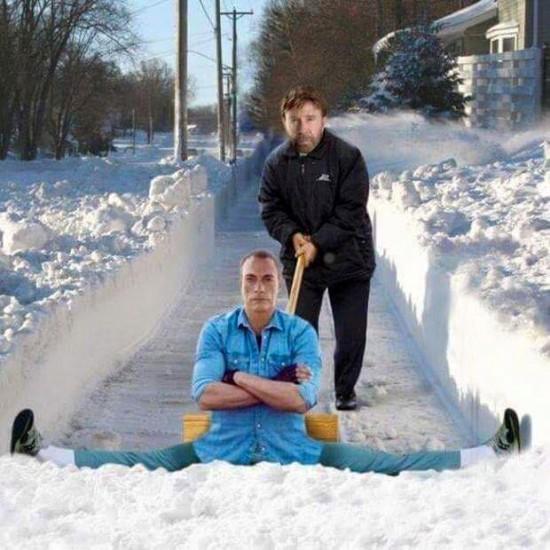 Retirar nieve con Jean Claude Van Damme
