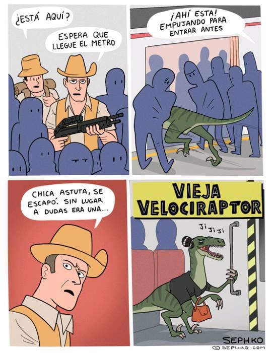 Velociraptor en el metro
