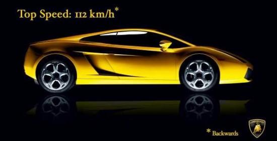 Velocidad máxima del Lamborghini 112km/h*