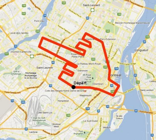 Mapa del recorrido de la manifestación
