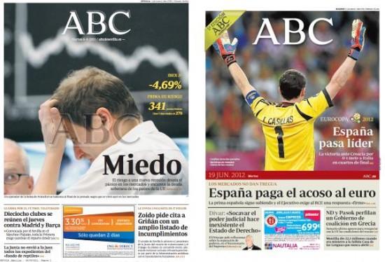 Portadas del ABC antes y después
