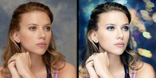 Scarlett Johansson antes y después del photoshop