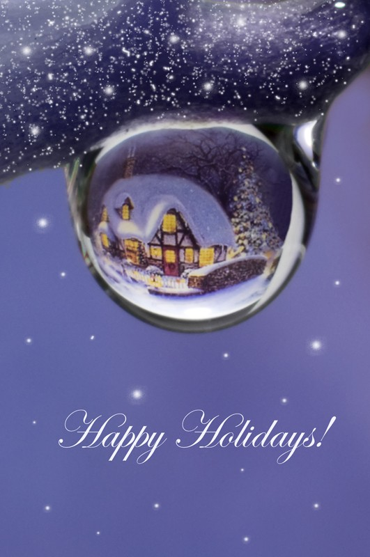 Postales de Navidad en gotas de agua