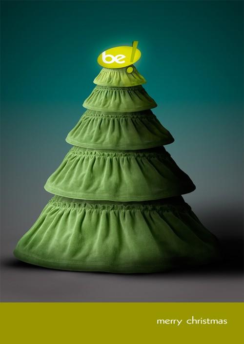 Postal de Navidad original - Vestido de volantes