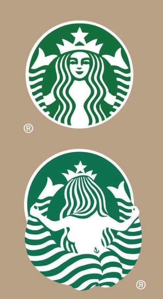 El logo de Starbucks por detrás