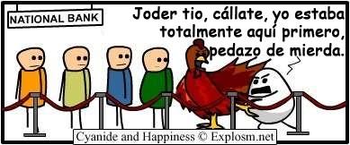 Cyanide y Happiness en español - El huevo o la gallina
