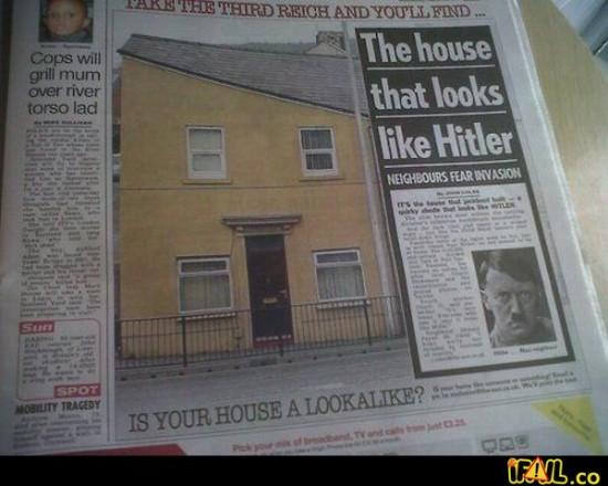 Casa con la cara de Hitler