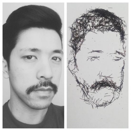 Retrato hecho con pelos