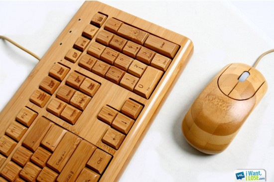 Teclado y ratón de madera
