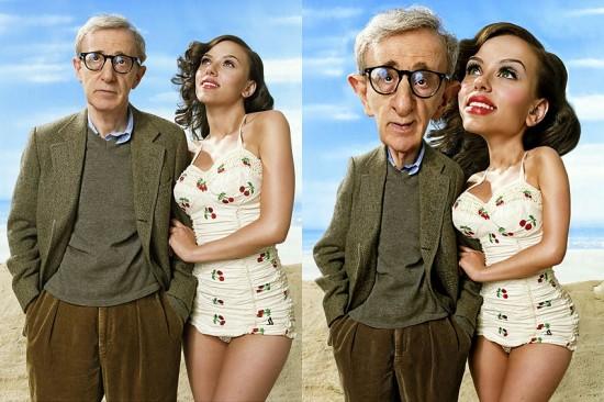 Caricatura Scarlett Johansson y Woody Allen