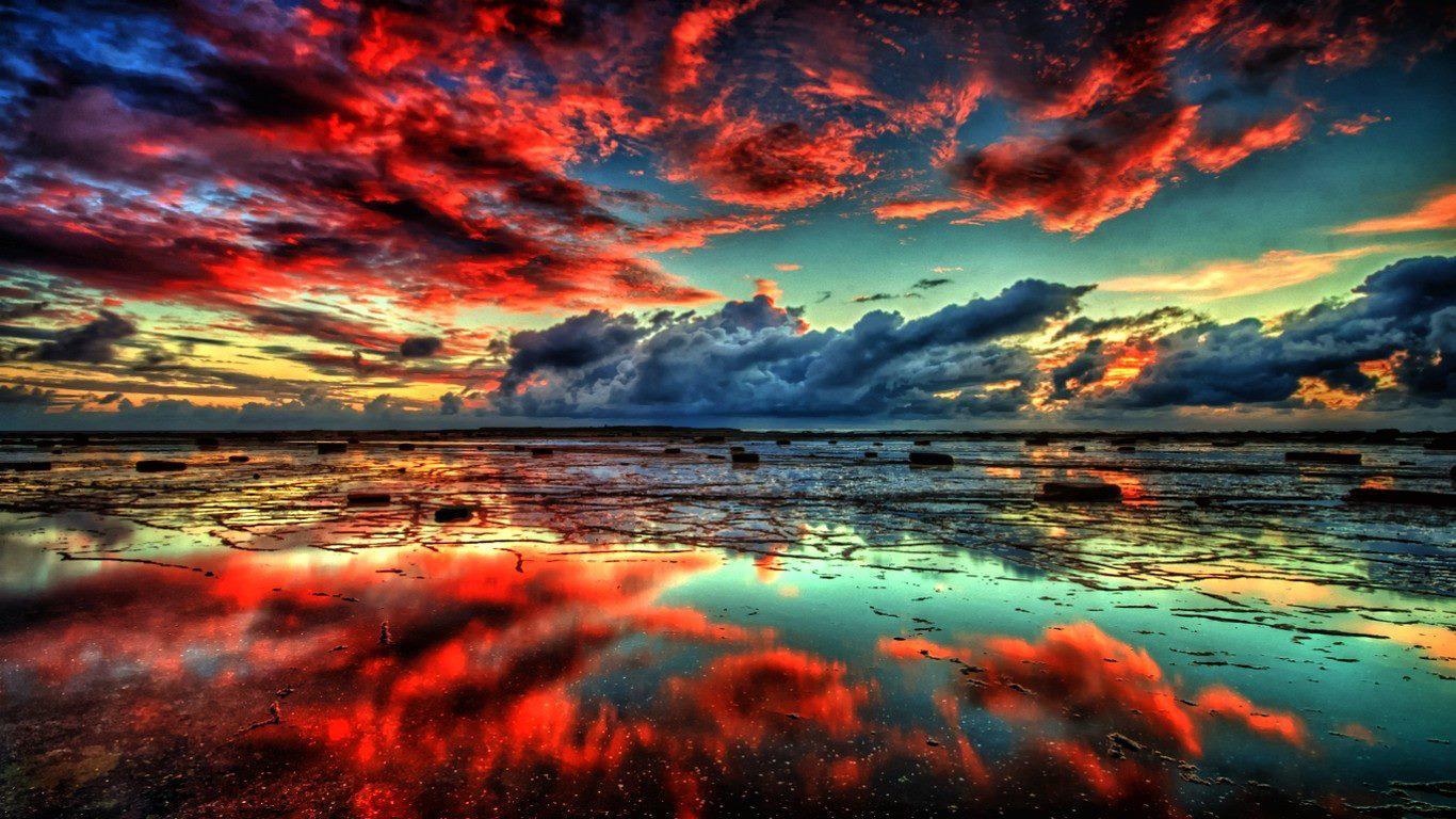Puesta de sol en azul y rojo for Puesta de sol